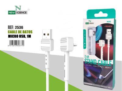 Cable Micro USB 2.4A 60º Angle NE-47 Blanco
