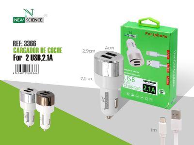 cargador coche 2 usb + cable iphone imagen