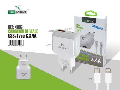 Cargador rapido USB-C a iPhone 3.4A