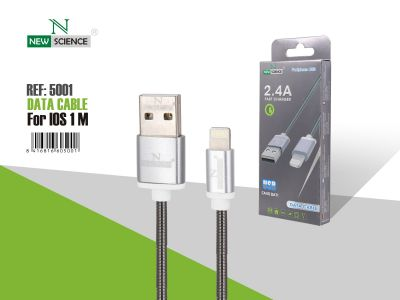 Cable Metal iPhone 2.4A Negro