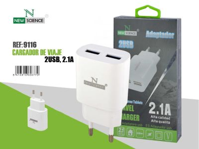 Adaptador 2USB 2.1A Blanco