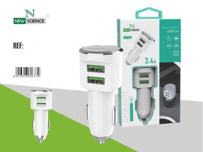 Adaptador Coche 3.4A Blanco CC-04