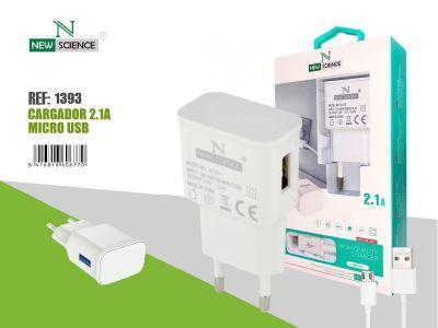 Cargador Micro USB 2.1A Blanco FC-33