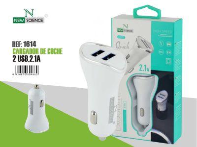 Adaptador Coche 2USB 2.1A Blanco CC-02