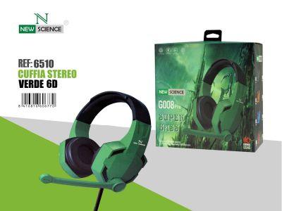 Verde  -Casco con Cable G008 Pro