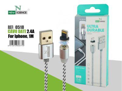 Cable con Iman iPhone 2.4A 1 Metro