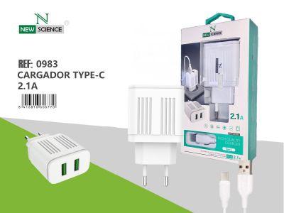 Cargador Type-C 2USB 2.1A Blanco FC-19