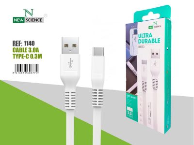 Cable Type-C 0.3M Blanco 3.0A NS-14