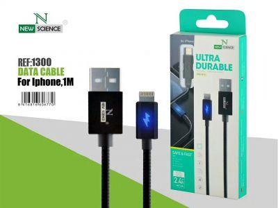 Cable con Luz iPhone 2.4A Negro NS-30