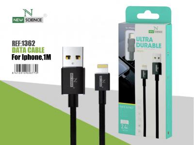 Cable Cuerda iPhone 2.4A Negro