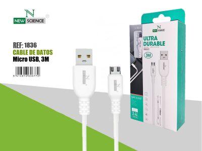 Cable Ultra Durable Micro 2.4A Blanco 3Metros NS-39