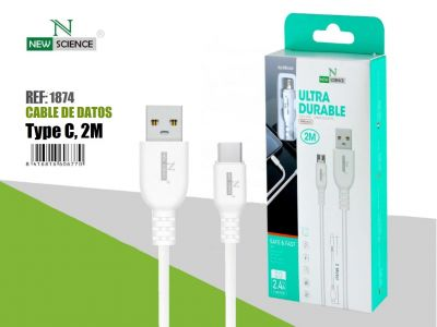 Cable Ultra Durable Type C 2.4A Blanco 2Metros NS-43