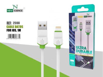 Cable iPhone P.Verde 2.4A 1Metro NE-50 Blanco