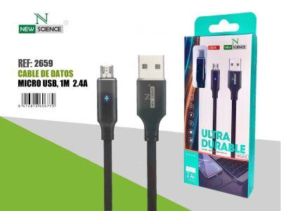 Cable Luz Micro USB 2.4A 1Metro NS-53 Negro
