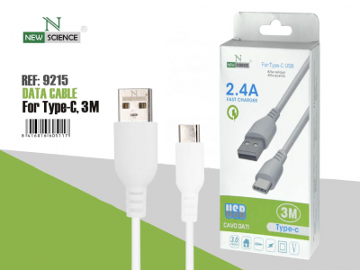 3.0A Cable Grueso Tipo C 3 Metros Blanco