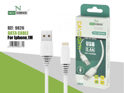 Cable iPhone 2.4A 1 Metro Blanco Ref.9826